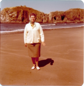 Grannie on the beach Oregon 1976