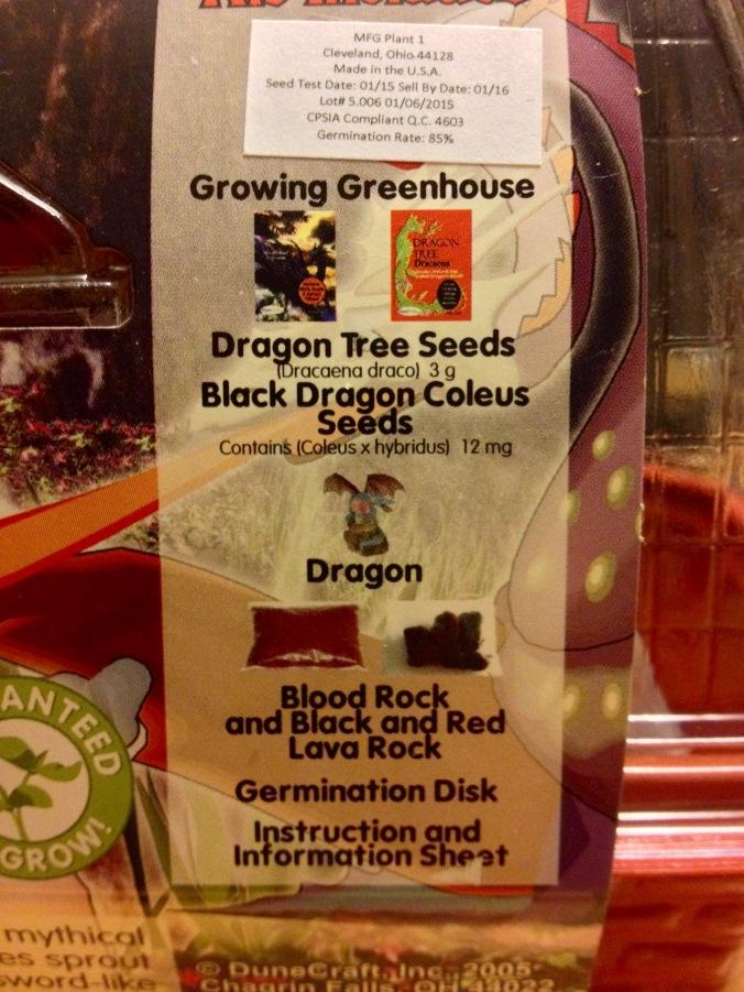 Dragon's Lair contents label
