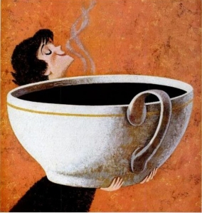 Sanka Cup woman with huge cup of coffee edit