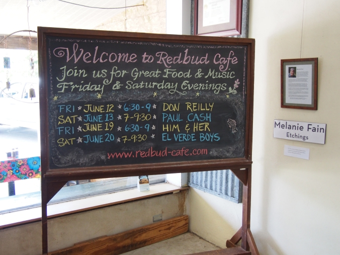Music schedule at the Redbud Cafe for June 2015