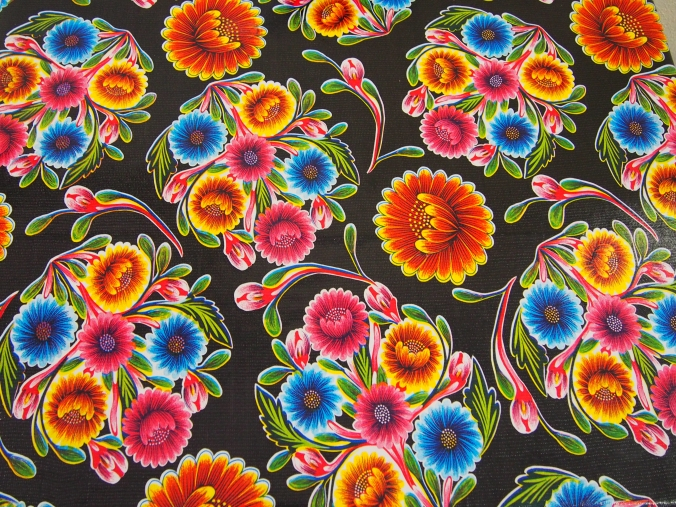 Black oil cloth with flowers