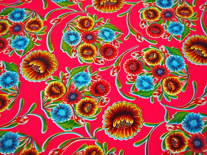 Red Oil Cloth with Flowers