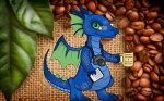 Finn and coffee leaves and beans
