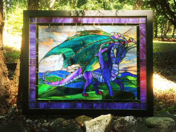panel-framed-stained-glass-flying-dragon-ostisinpirations