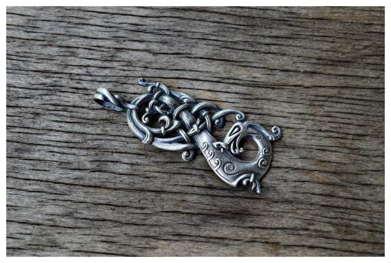 Viking Norse Charm The Ringerike Dragon Scandinavian Necklace Norse Jewelry Wear The Rare Wtsy 1