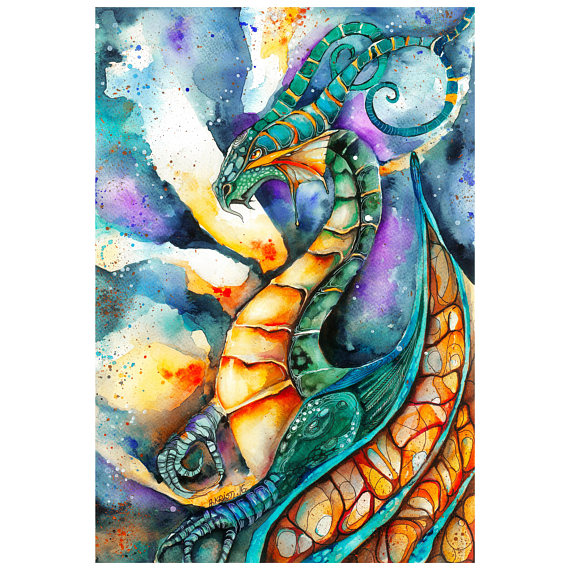 Dragon art colorful magical creature in flames AlienKristiShop